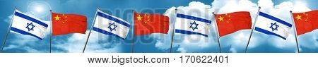 Israel flag with China flag, 3D rendering