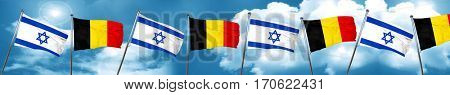 Israel flag with Belgium flag, 3D rendering