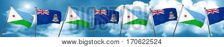 Djibouti flag with Cayman islands flag, 3D rendering