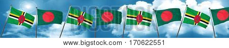 Dominica flag with Bangladesh flag, 3D rendering