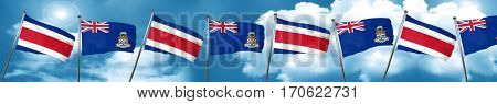 Costa Rica flag with Cayman islands flag, 3D rendering