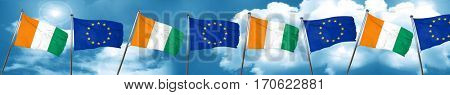 Ivory coast flag with european union flag, 3D rendering