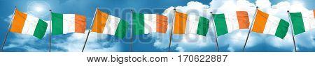 Ivory coast flag with Ireland flag, 3D rendering
