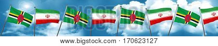 Dominica flag with Iran flag, 3D rendering
