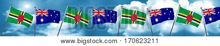Dominica flag with Australia flag, 3D rendering
