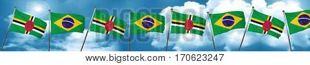 Dominica flag with Brazil flag, 3D rendering