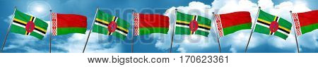 Dominica flag with Belarus flag, 3D rendering