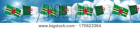 Dominica flag with Algeria flag, 3D rendering