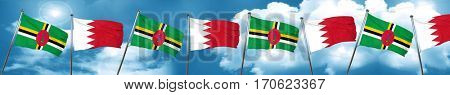 Dominica flag with Bahrain flag, 3D rendering