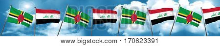 Dominica flag with Iraq flag, 3D rendering