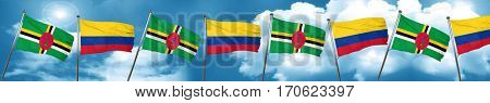Dominica flag with Colombia flag, 3D rendering