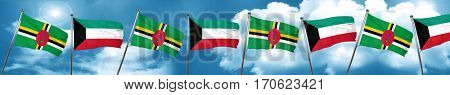 Dominica flag with Kuwait flag, 3D rendering