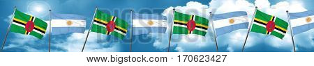 Dominica flag with Argentine flag, 3D rendering