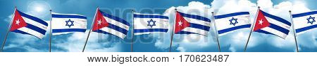 Cuba flag with Israel flag, 3D rendering