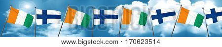 Ivory coast flag with Finland flag, 3D rendering