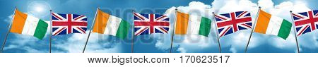 Ivory coast flag with Great Britain flag, 3D rendering