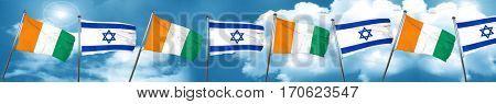 Ivory coast flag with Israel flag, 3D rendering
