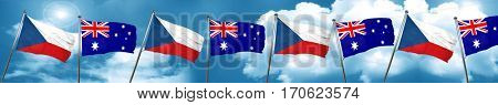 czechoslovakia flag with Australia flag, 3D rendering