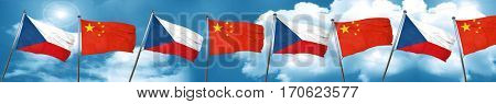 czechoslovakia flag with China flag, 3D rendering