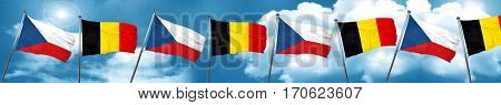 czechoslovakia flag with Belgium flag, 3D rendering