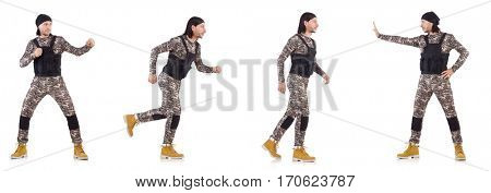 Soldier isolated on the white background
