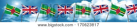 Dominica flag with Great Britain flag, 3D rendering