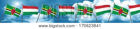 Dominica flag with Hungary flag, 3D rendering