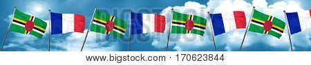 Dominica flag with France flag, 3D rendering