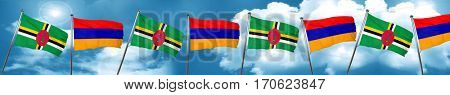 Dominica flag with Armenia flag, 3D rendering