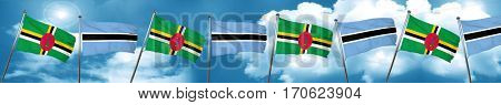Dominica flag with Botswana flag, 3D rendering