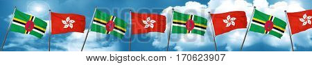 Dominica flag with Hong Kong flag, 3D rendering