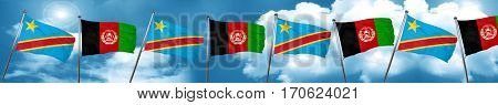Democratic republic of the congo flag with afghanistan flag, 3D