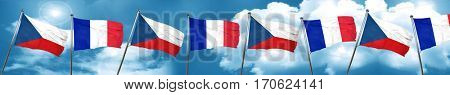 czechoslovakia flag with France flag, 3D rendering