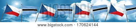 czechoslovakia flag with Botswana flag, 3D rendering