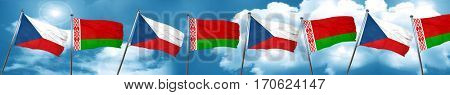 czechoslovakia flag with Belarus flag, 3D rendering