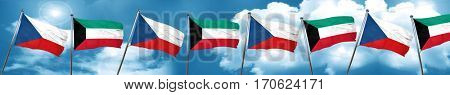 czechoslovakia flag with Kuwait flag, 3D rendering