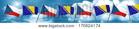 czechoslovakia flag with Bosnia and Herzegovina flag, 3D renderi