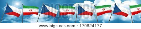 czechoslovakia flag with Iran flag, 3D rendering
