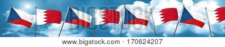 czechoslovakia flag with Bahrain flag, 3D rendering