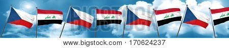 czechoslovakia flag with Iraq flag, 3D rendering