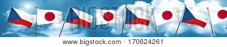 czechoslovakia flag with Japan flag, 3D rendering