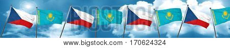 czechoslovakia flag with Kazakhstan flag, 3D rendering