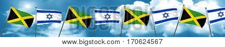 Jamaica flag with Israel flag, 3D rendering
