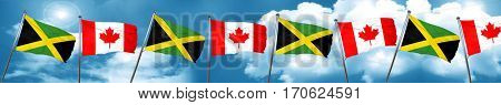 Jamaica flag with Canada flag, 3D rendering