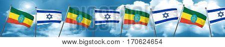 Ethiopia flag with Israel flag, 3D rendering