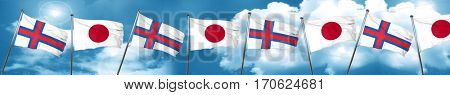 faroe islands flag with Japan flag, 3D rendering
