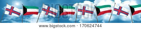 faroe islands flag with Kuwait flag, 3D rendering