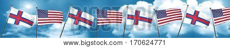 faroe islands flag with American flag, 3D rendering