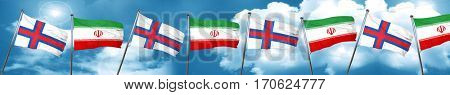 faroe islands flag with Iran flag, 3D rendering