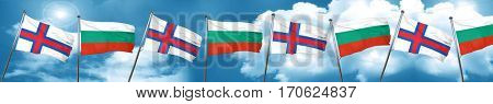 faroe islands flag with Bulgaria flag, 3D rendering